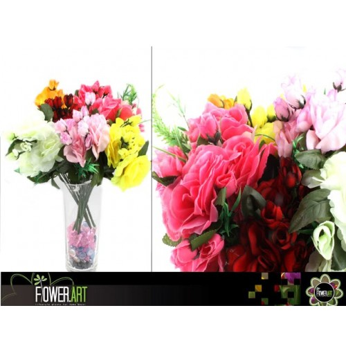 Rose Bunch 7 Head & Buds 35cm 6 Asst Col
