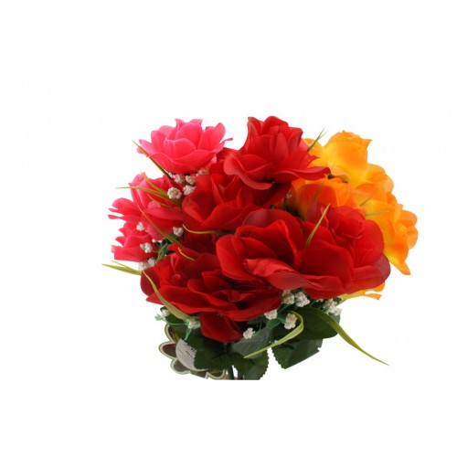 Rose Bunch & Gyp 7 Head 38cm 2 Tone Colr