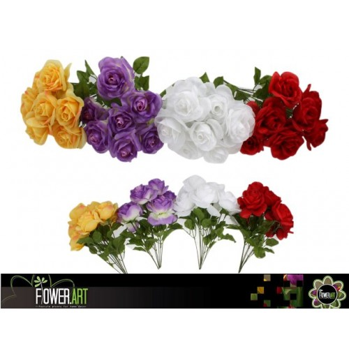 Rose Flower Bunch 8 Heads 39cm