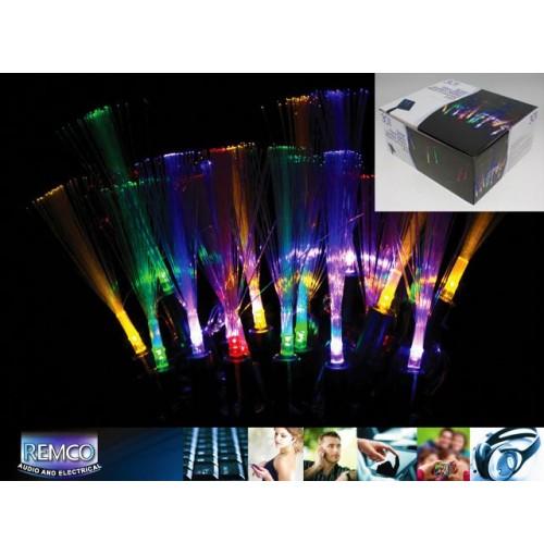 30 Multi Coloured Fibre Optic Garden Stakes Lights 20cm