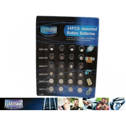 Button Battery High Powered 24pcs 6 Assorted Sizes