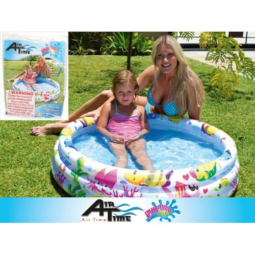 Kids 3 Ring Pool Wht Sea Theme 107x25cm