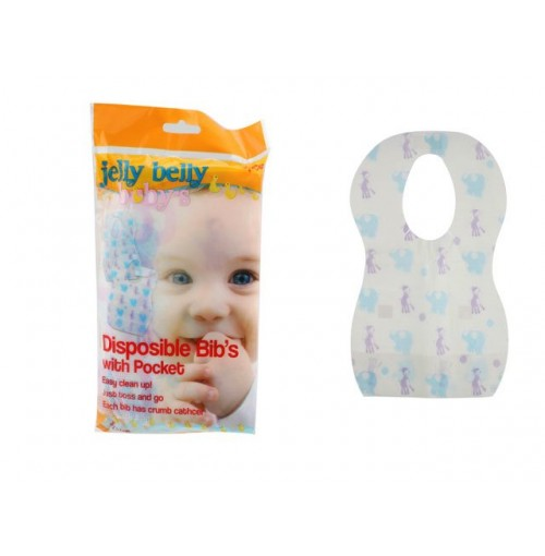 Disposable Bibs W/Pocket 6pce 35x24cm