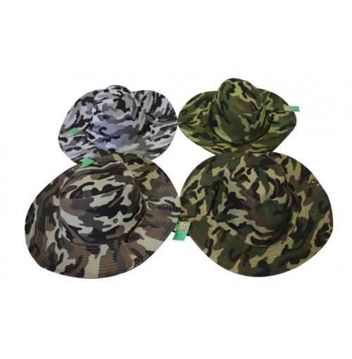 Hat Wide Brim Camo 4 Asst W/ Clips Neck Cord 37cm