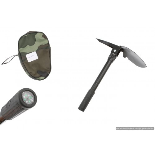 Multi Purpose Camp Tool With Shovel Pick & Compass 30x10cm