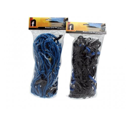 Bungee Cargo Net 12 Plastic Hooks 70x90cm Unstretched 2clr