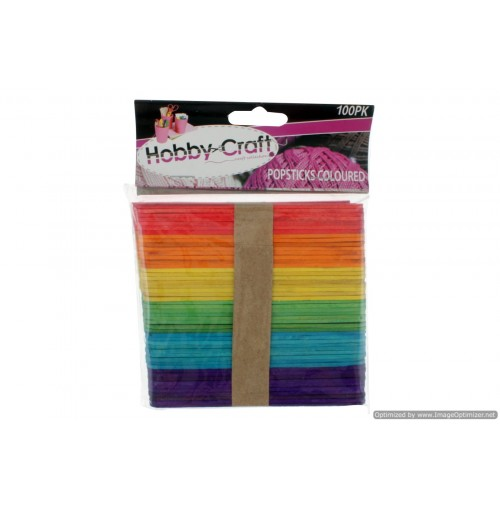 Popsticks Colrd 100pk 6 Assorted 11.5x1cm 2mm Thick