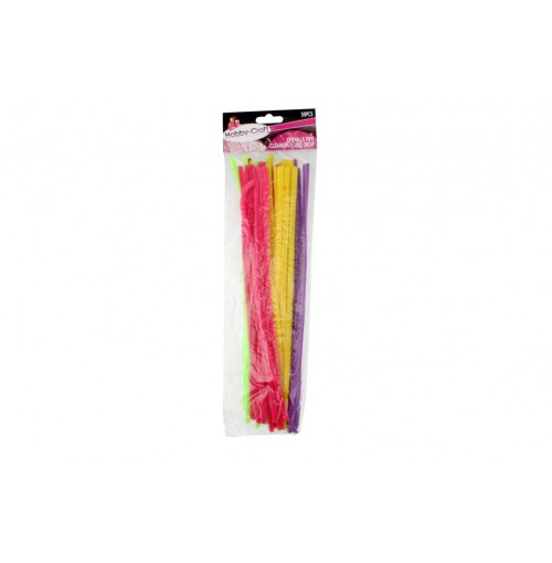 Chenille Pipe Cleaners Fluro 50pce 30cm