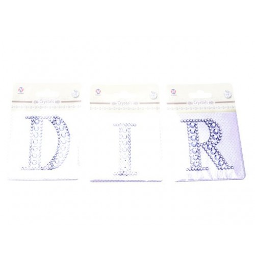 Crystal Letter Sticker Silver