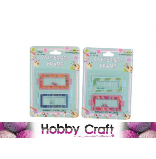Scrapbooking Patterned Frame W/Brad Clips 2 Pk