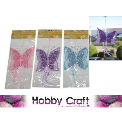 Hanging Butterfly Stocking W/Felt &Amp; Jewel Ribbon