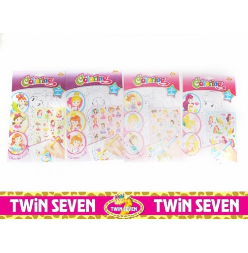 Twin Seven Colouring Sticker Books Girls