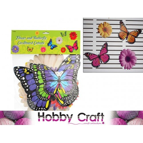 Craft Colr Cut Out Flower & Butterfly 12pc Cardboard