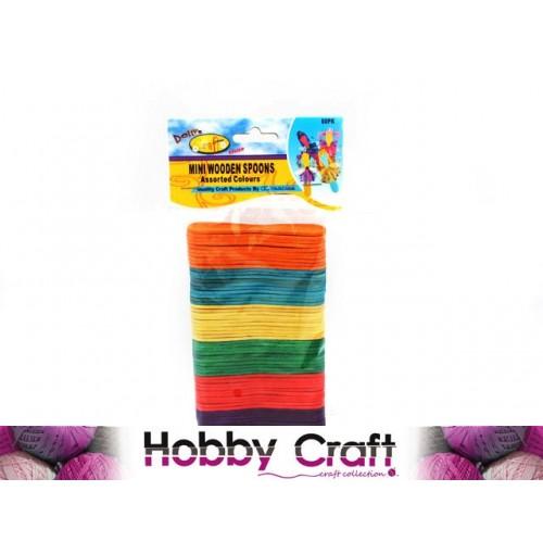 Craft Mini Wood Spoons 60pcs Assorted Color