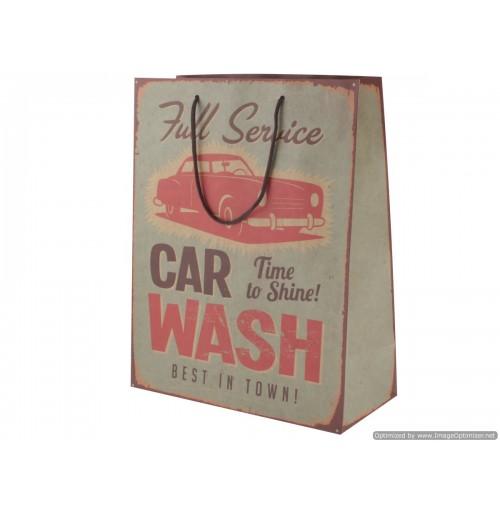 Vintage Giftbag Car Wash 26x33x12cm
