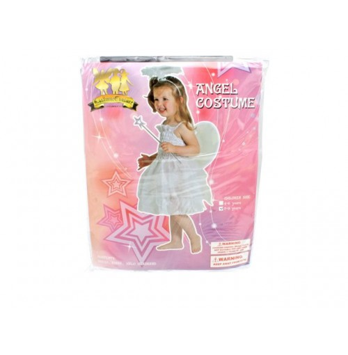 Angel Costume Girls Dress Wings Halo Slvr 2sz 4-6 7-9