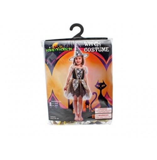 Witch Costume Girls Hat Dress Blk Gold Wht 2szs 4-6 7-9