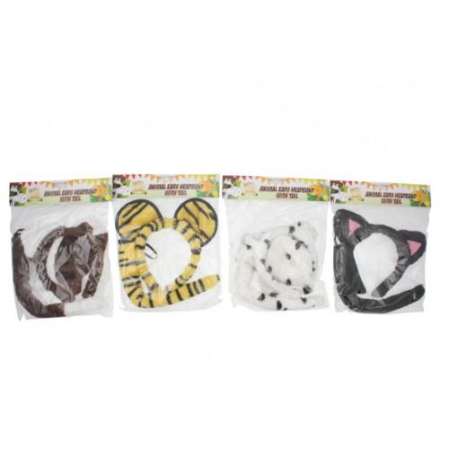 Animal Ears Headband With Tail 4asst