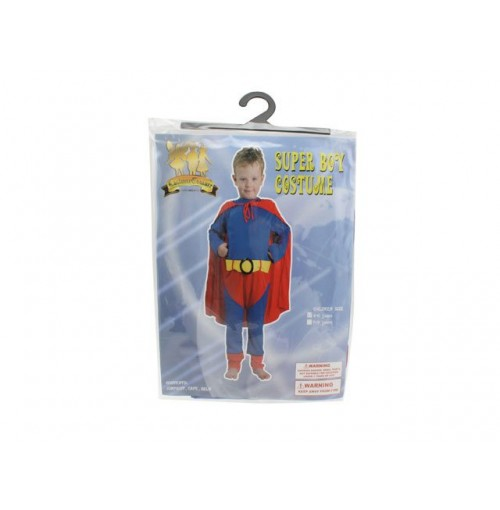 Super Boy Costume Jumpsuit Cape &Amp; Belt 2sz 4-6 7-9