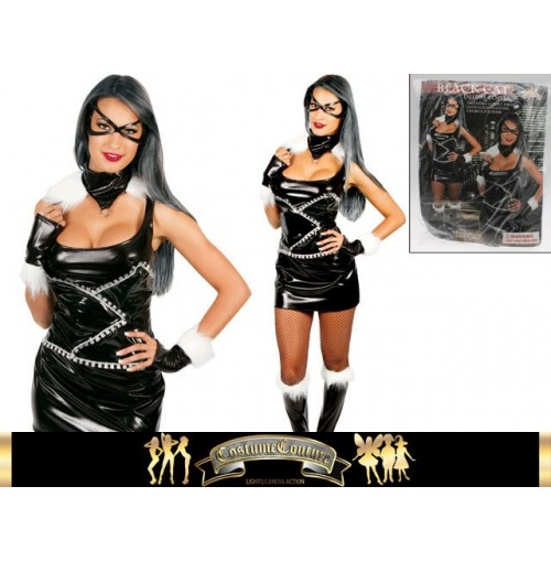 Black Cat Deluxe Costume 6pc 2 Sizes