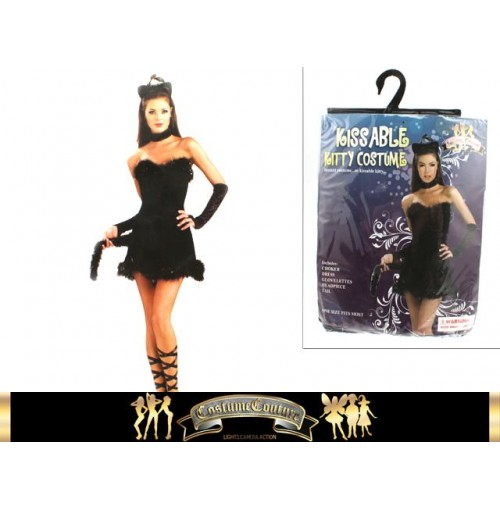 Kissable Kitty Dress W/Choker Glovelet Headpiece Tail 1 Size