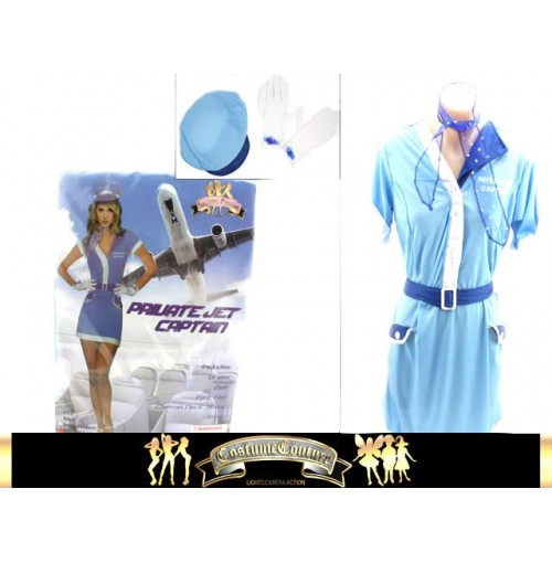 Private Jet Captain Blue Costume 5pc 2 Sizes