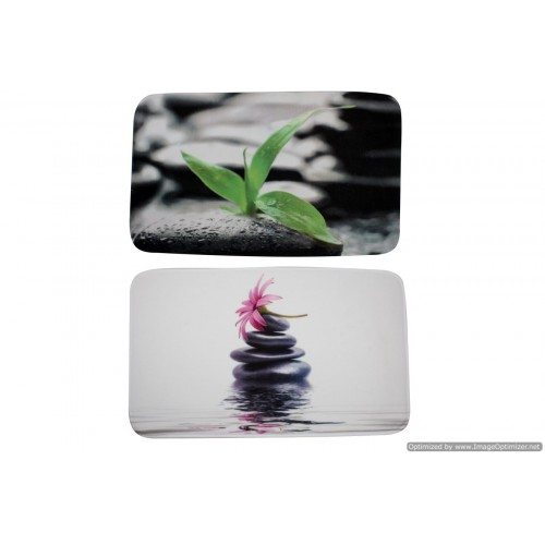Bath Mat Zen Rock Leaf Flower