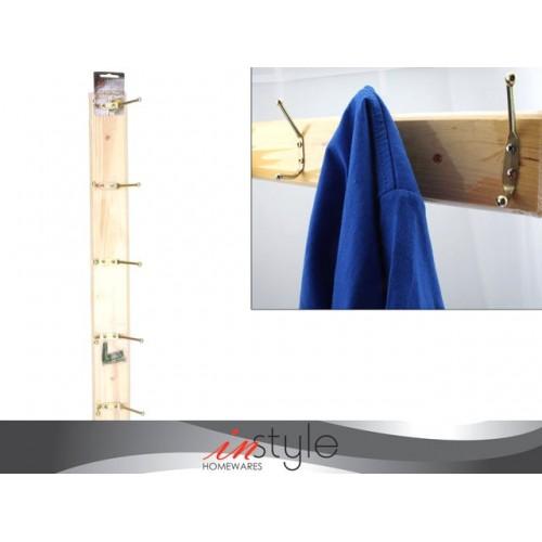 Wall Hanger W/5 Hooks Wood 49.5cm