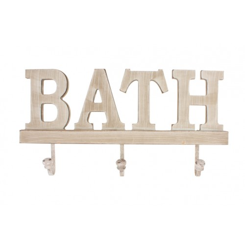Wood Wall Hooks Bath 31x15.5x2cm