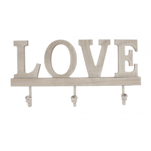 Wood Wall Hooks Love 31x15.5x2cm