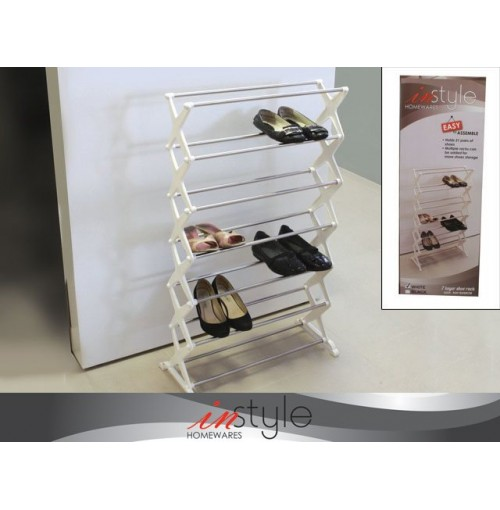 7 Layer Shoe Rack 55x18x96cm Wht Blk