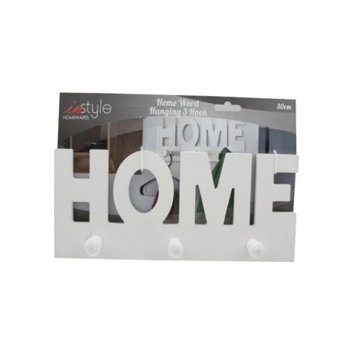 Home Word Hanging 3 Hook Wooden 30cm