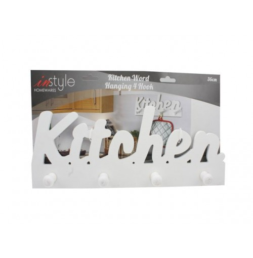 Kitchen Word Hanging 4 Hook Wooden 36cm
