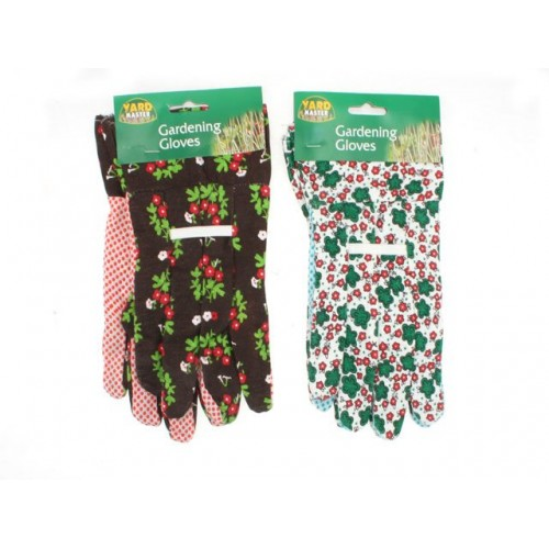 Gardening Gloves Printed W/Pvc Dots