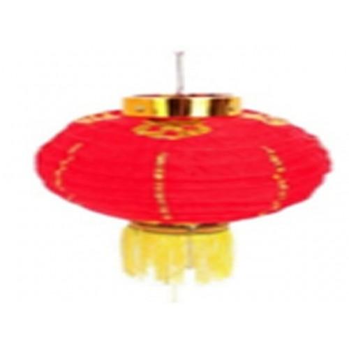 Cny Red Lantern With Gold Stripes 15x28cm
