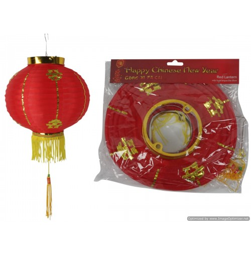 Cny Deco Red Lantern 25cm With Gold Stripes