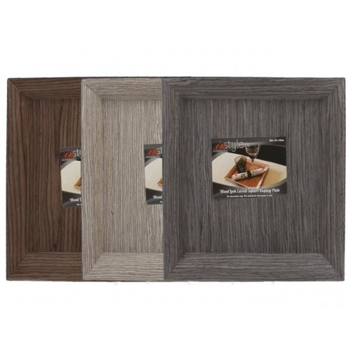Wood Look Curves Square Display Plate 26cm