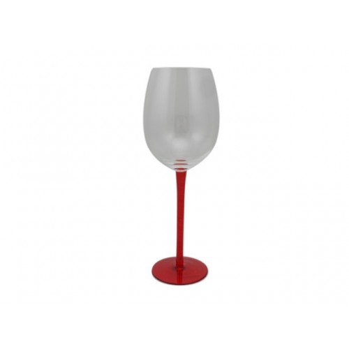 Red Wine Glass Silver And Red 6 Piece In Colour Box 2 Assorted