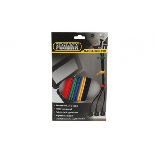Cable Ties Adjustable 10pk 20cm X 1.2cm