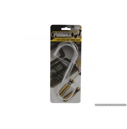 Hook S Chrome X-Lrg 4pk 20x5cm