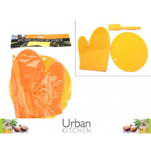 Kitchen Glove Set 3pc Glove/Pot Holder/Spatula
