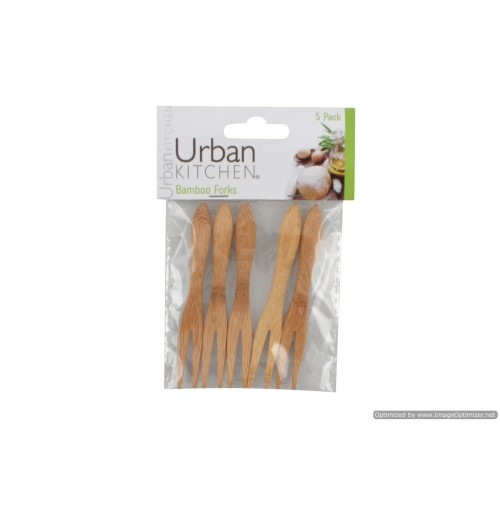 Wooden Bamboo Cocktail Forks 5pce