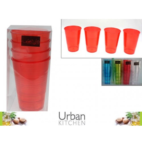 Cups Ribbed 4pk 480ml Red/Clr/Grn/Blu