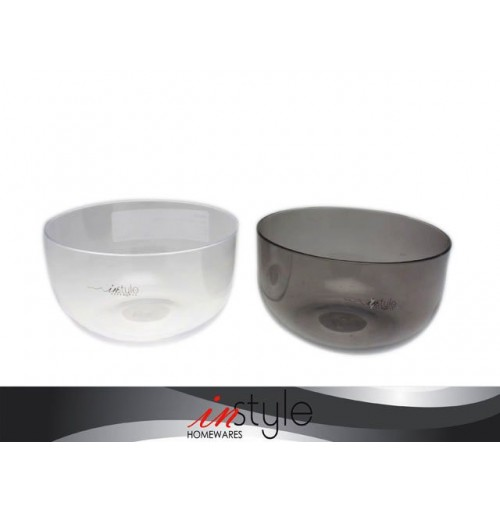 Clear Bowl 15cm Plastic 2 Assorted Clear & Charcoal