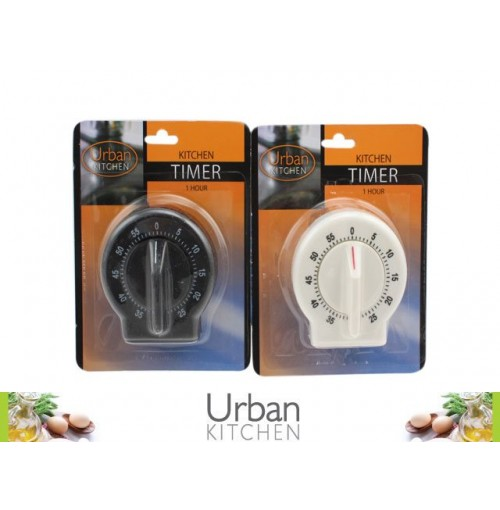 Kitchen Timer 1hr Blk/Wht