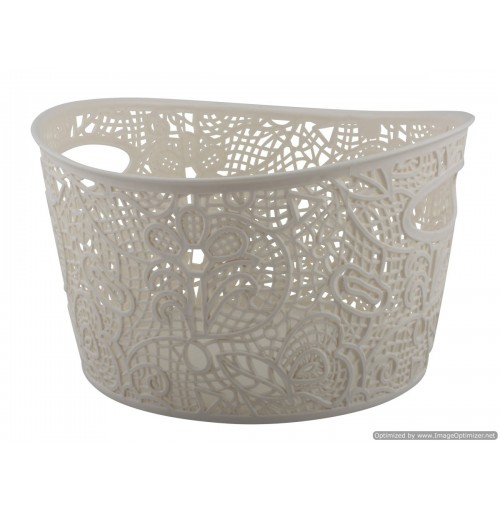 Storage Basket Lace Design W/Handle 25x24.5x15cm 4 Clrs