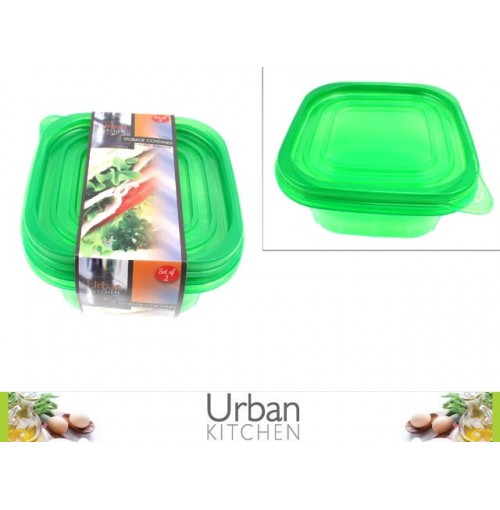 2pc Storage Container 14.5x14.5x5.7cm Green Lids