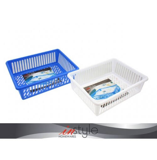Basket Handy Multi Purpose 40x30x10cm White & Blue