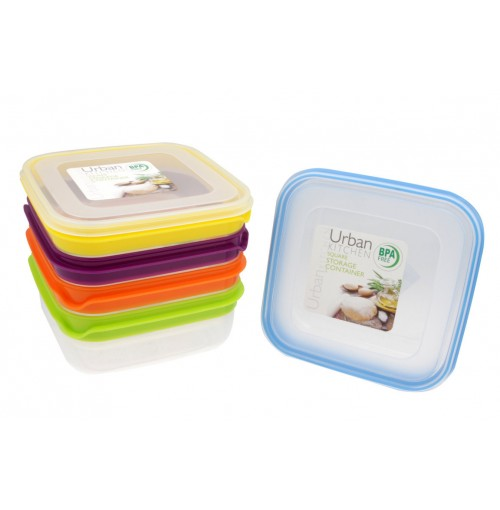 Stripe Square Storage 1L Container 5 assorted Bpa Free