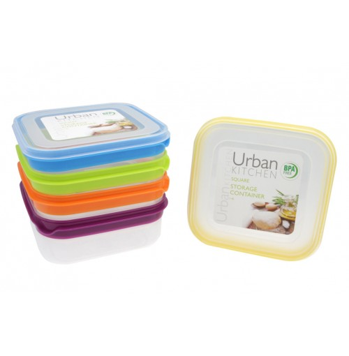 Stripe Square Storage 1.4L Container 5 assorted Bpa Free